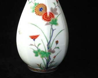 "Fukagawa Japan Arita Porcelain 10.5"" Octagonal Bud Vase with Flowers & Bird"