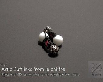 Arctic agate silver cufflinks