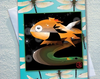 """GOLD fish GREETING card,cartoon gold fish,surrounded by dragonflies on a turquoise  background,ecofriendly,sustainable card,4.13"""" x 5.82"""""""