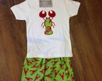 Boys Lobster Applique Shirt with Lobster Print Shorts, Size 12M, 18M, 2T, 3T, Boys Applique Set