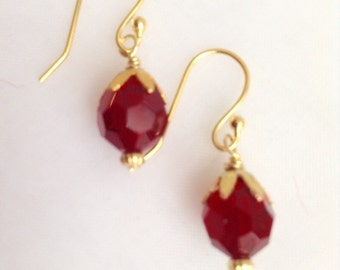 Siam Red Crystal and Gold Plated Flower Cap Earrings