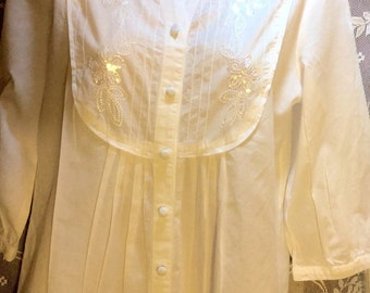 Adorable Stark White Sequined Summer Blouse!