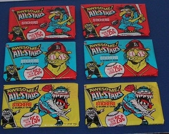 Vintage Lot of 6 Unoppened 1988 Leaf Awesome All-Stars Packs