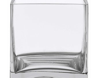 "6"" Square Glass Vase - 6 Inch Clear Cube Centerpiece - 6x6x6 Candleholder   (FREE SHIPPING)"