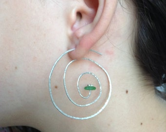 Spiral Hammered Sterling Silver And Seaglass Earrings