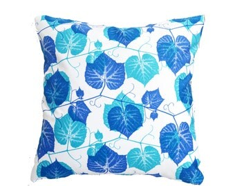 Indigo Blue and Teal Leaves on white 18 by 18 inch Accent Pillow Cover with Zipper Enclosure