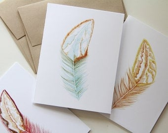 Feather Cards, Set of Six