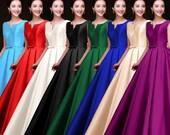 Glossy Satin Prom Dress, Formal Dress, Wedding dress, Mother of the Bride Dress, Floor Length