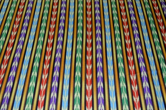 VIP Exclusive Rocking Horse Ranch 100% cotton fabric, brown, purple, blue, green, and red stripes. ~6