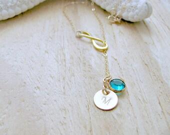 Personalized Lariat birthstone lariat initial lariat Infinity Jewelry custom initial swarovski birthstone Infinity Emerald Bridesmaid Sets