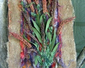 Fall Textile Art, Autumn Flowers, Burlap Art, Wall Hanging, Three Dimensional, Fall Gift Idea,  8' x 10""