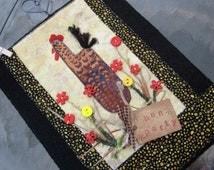 Whimsical Art Quilt, Hen Party Gift, Wall Hanging, Original Design, Home Decor, Heart Wire Hanger, 8 x 10