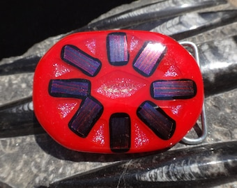 Cherry Red Fused Glass Belt Buckle with Dichroic Glass Design