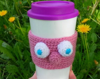 Coffee Cozy Funny Face, Coffee Sleeve, Cup Sleeve,Crochet Cozy , Java Jacket, Travel Drink Cup Holder, Pink  Face