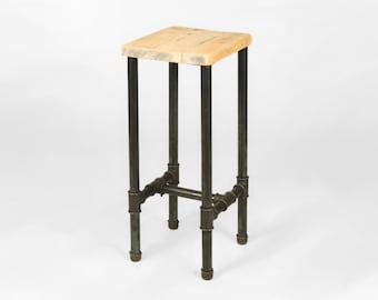 Bar stool handmade from 1 inch steel gas pipe and reclaimed wood