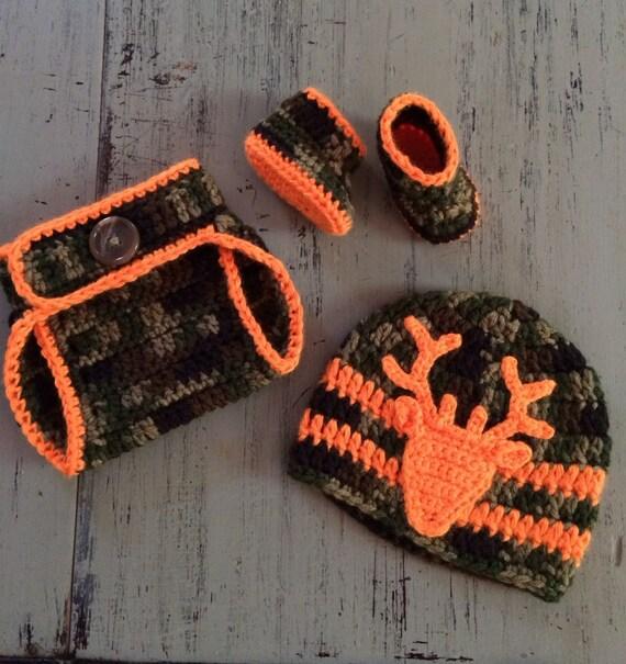 Items Similar To Newborn Crochet Camo Hat Diaper Cover