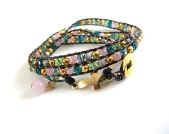 Wrap bracelet EYECATCHER gold pink green