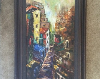 Beautiful Vintage Abstract Painting on Canvas,