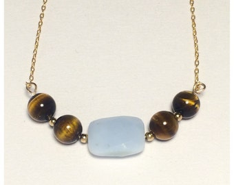 Blue Opal and Tiger's Eye on Gold Chain Necklace