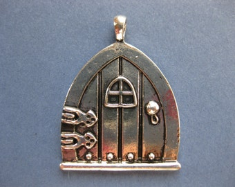 2 Fairy Door Charms   Fairy Door Pendant   Door Charm   Fairy Charm  Silver