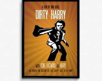 Dirty Harry Poster Clint Eastwood Quote - Do You Feel Lucky? Well, Do Ya, Punk? - Art Print, Multiple Sizes - 8x10 to 24x36 - Style Minimal