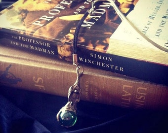 Shepherd's Hook Bookmark with Wizard and Marble Hanging Pendant
