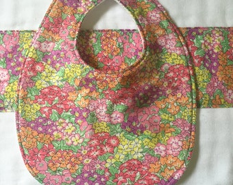 Liberty *Garden Wonderland: bib & burp cloth set