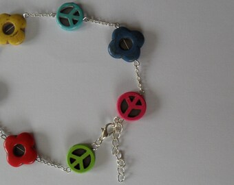 MidSummer Litha Flower Child Peace Festival Anklet in Silver and Howlite
