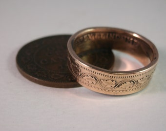 Canada Coin Ring - Maple Leaf Coin Ring - 1918 Canadian Coin Ring - Canada 1 Cent Coin ring - Size 8.5 Coin Ring