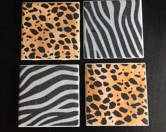 Coasters Set of 4 Animal Print Beverage Drink Cheetah Zebra Leopard