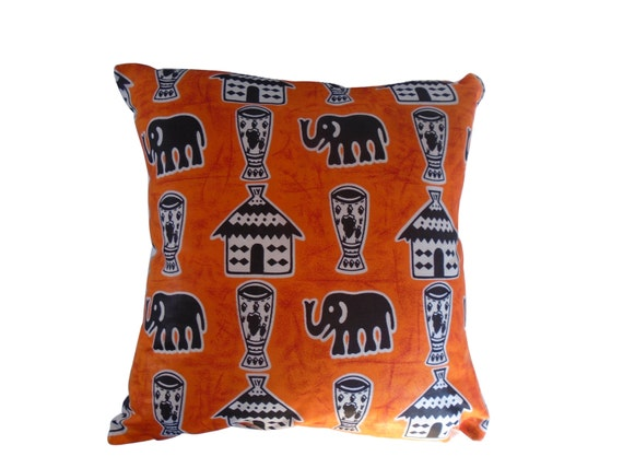 Decorative throw pillow covers,  African fabric, 16X16 pillow cover, elephants pillow cover, ethnic pillow cover, orange pillow cover
