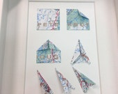 """Origami Map Art """"How to Fold a Paper Airplane"""" (Peterborough)"""