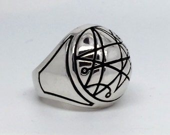 """Intenebris """"Sigil of the Gate"""" Silver Signet Ring (Necronomicon) in sterling silver"""