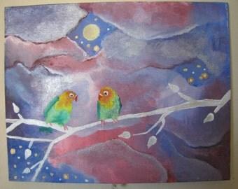 Love Birds , Acrylic Painting