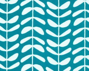 Organic Cotton Canvas - Yoyogi Park Canvas - Vines in Teal  *UK Seller* Sold by the METRE