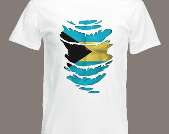 Bahamas Flag T-Shirt  see Muscles through Ripped T-Shirt in all sizes