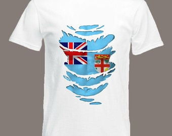 Fiji Flag T-Shirt see Muscles through Ripped T-Shirt in all sizes