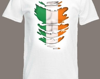 Irish Flag T-Shirt see Muscles through Ripped T-Shirt Ireland in all sizes