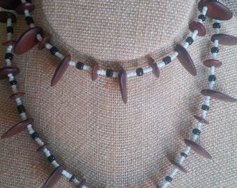Seeds and bones necklaces Handmade Venezuelan Amazon Indian Tribe. Venezuela, South America.