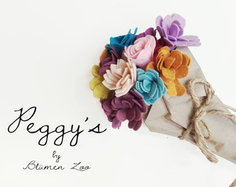 Felt Flower, Individual Stem, The Peggy- Pick your color