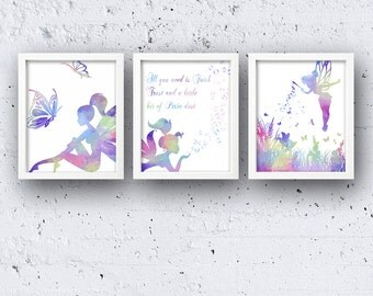 Set of 3 Watercolor Fairy 5 x 7 or 8 x 10 PHYSICAL Wall Art Prints Print Poster Faries Tinkerbell Faith Trust and Pixie Dust Quote