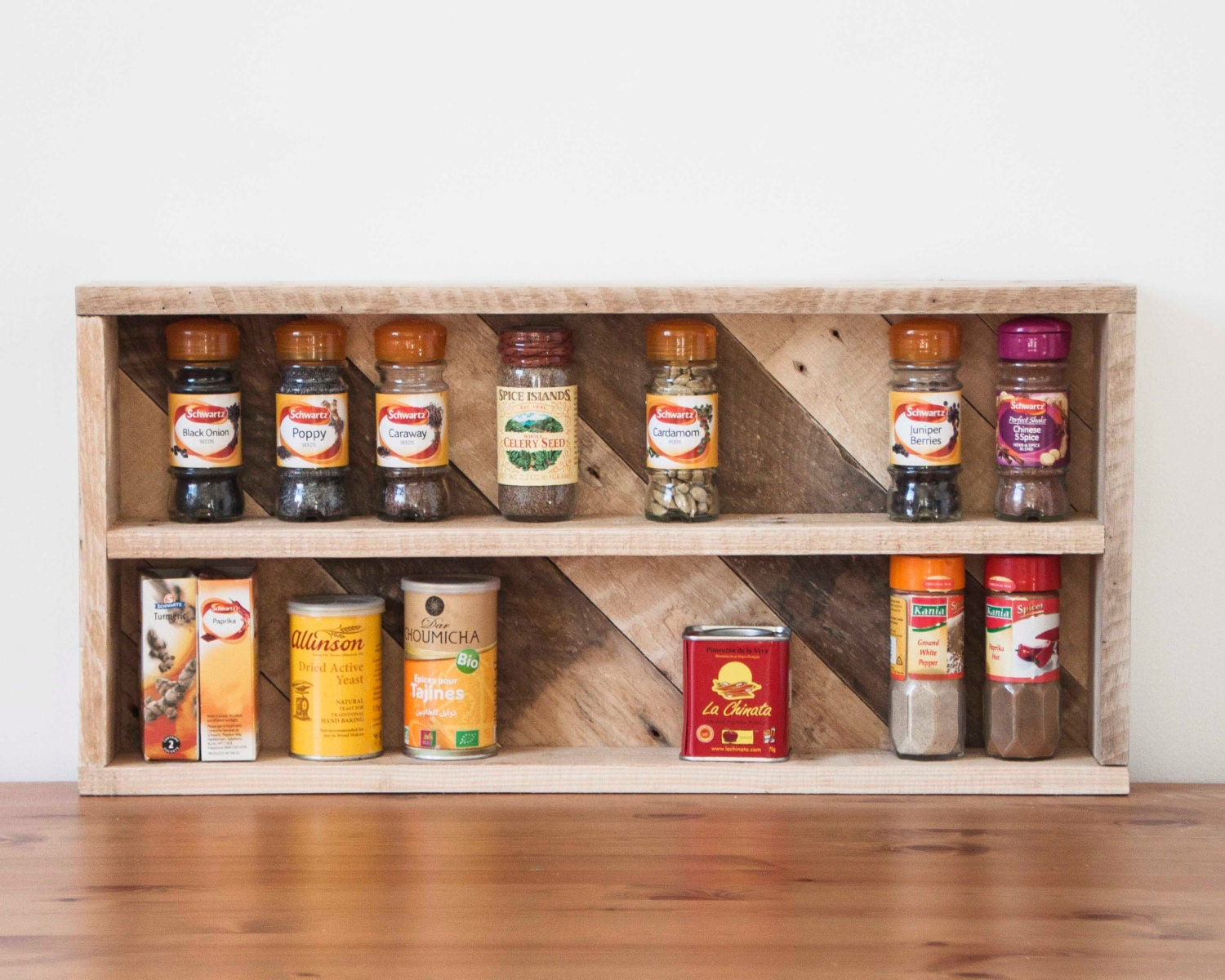 Wooden spice rack pallet shelves for Armoire palette bois