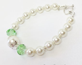 Bridesmaid Bracelet Wedding Bracelet Ivory Pearl Jewelry Bridesmaid Gift Peridot Crystal Bracelet Jewelry Set Mother of the Bride