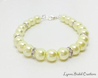 Lemon Bridesmaid Bracelet Pearl Bracelet Crystal Jewelry Wedding Bracelet Bridesmaid Gift Bridal Party Jewelry Lemon Pearl Bracelet