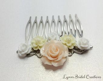 Peach Bridal Hair Comb Rose Hair Accessory Rose Wedding Hair Pin Bridesmaid Hair Piece Flower Girl Gift Pretty Peach Lemon White Hair Comb