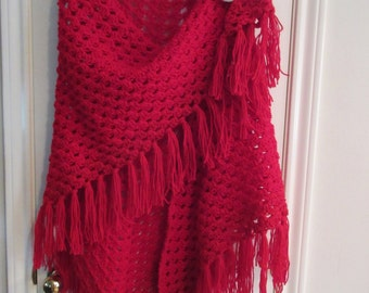 Red Crochet Granny Shawl