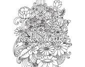 Digital download, Printable coloring page for Adults and Children, Flower Doodles