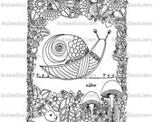 instant digital download - adult coloring page - snail doodle