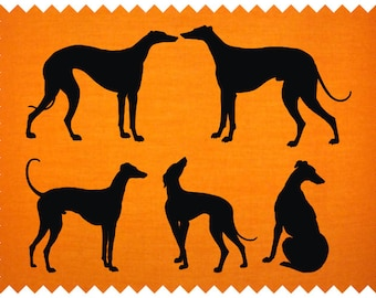 Five Greyhound dogs - SVG - PNG - JPEG - dxf - pdf - Printable Clipart - Iron on Transfer for Fabric  - Vinyl Cutting - Laser Engraving