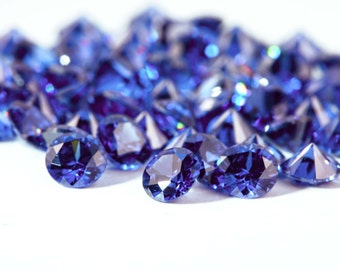 10pcs+ 1mm to 3mm Color CZ, Loose Stone supplies. Round Shape. Blue color with a little bit of violet tone, imitation Tanzanite.